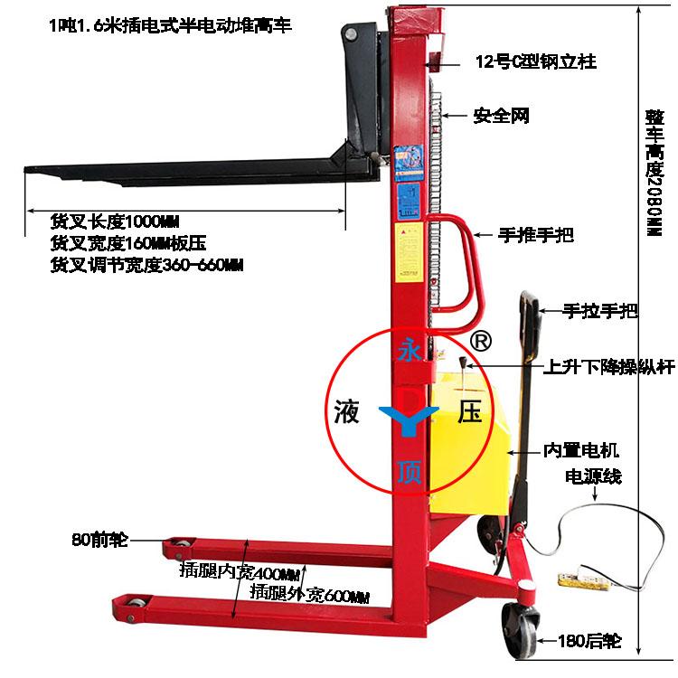 插电式1.6米半电动堆高车